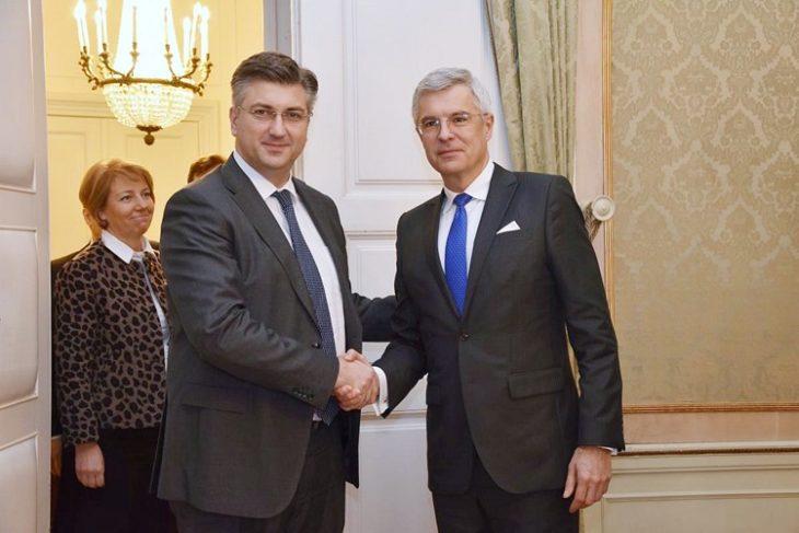 Plenković s v. d. ministrom vanjskih i europskih poslova Slovačke Korčokom