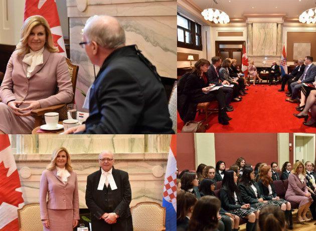 Predsjednica Grabar-Kitarović održala sastanak s predsjednikom Senata Kanade i posjetila školu Elmwood