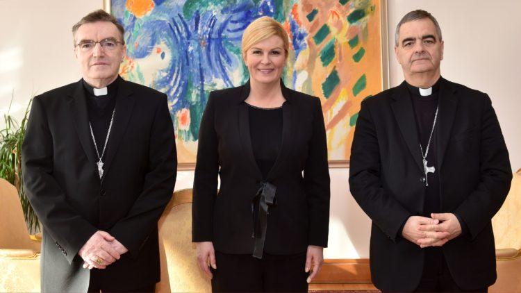 Susret Predsjednice s kardinalom Josipom Bozanićem i nadbiskupom Nikolom Eterovićem