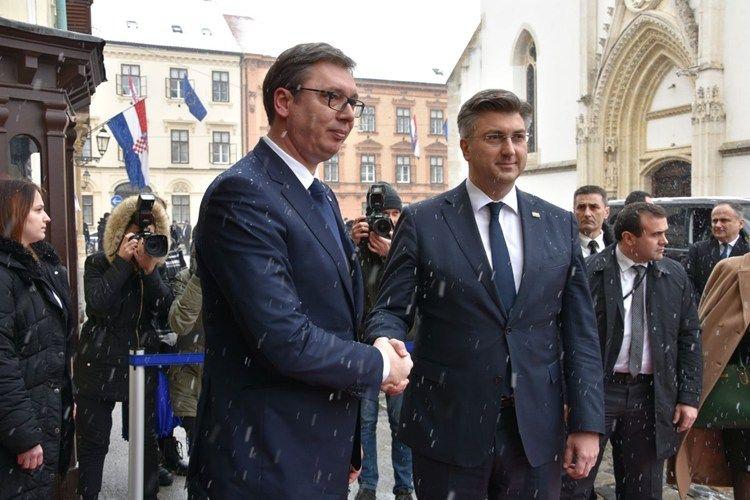 Predsjednik Vlade Andrej Plenković s predsjednikom Republike Srbije Vučićem