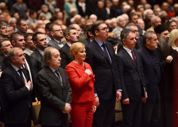 Predsjednica Grabar-Kitarović i predsjednik Vučić na Velikoj skupštini Srpskog narodnog vijeća