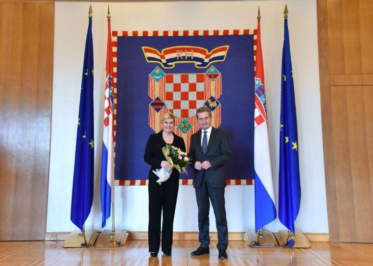 Predsjednica Grabar-Kitarović primila povjerenika Europske komisije za proračun i ljudske resurse Günthera Oettingera