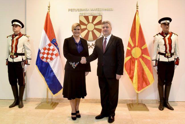 Hrvatska predsjednica Grabar-Kitarović i Đorge Ivanov o jačanju gospodarske suradnje i makedonskom putu prema EU-u i NATO-u
