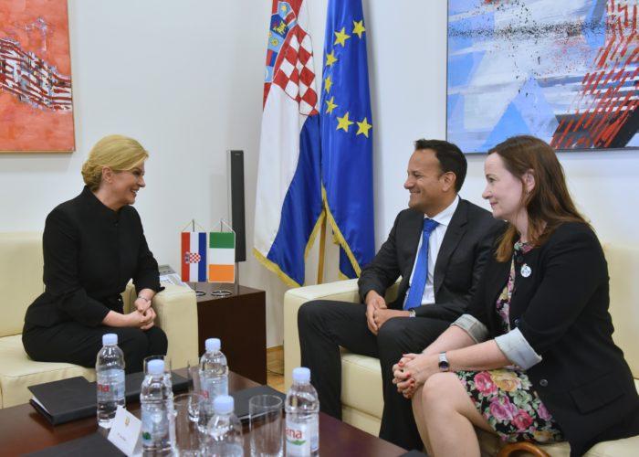 Predsjednica Grabar-Kitarović s predsjednikom Vlade Irske Varadkarom razgovarala o daljnjem jačanju ekonomske i političke suradnje
