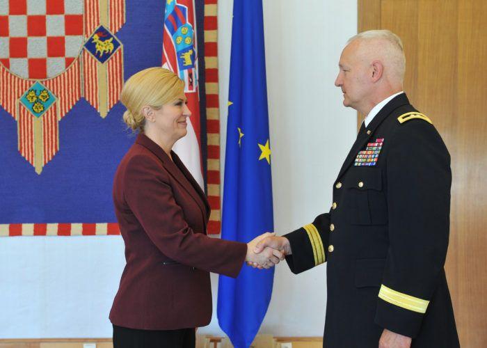 Predsjednica Grabar-Kitarović primila zapovjednika Nacionalne garde Minnesote Jona Jensena