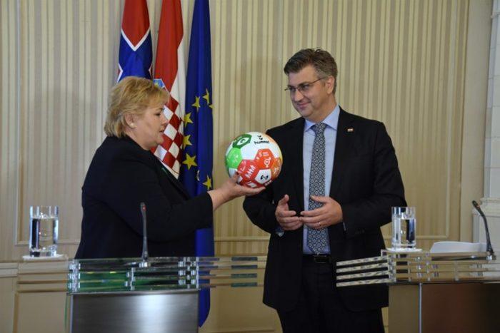 Hrvatski premijer Plenković i Erna Solberg: Norveška podupire razvoj Hrvatske sa 100 milijuna eura