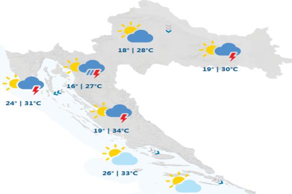 DHMZ: Djelomice sunčano uz promjenljivu naoblaku, mjestimice s kišom
