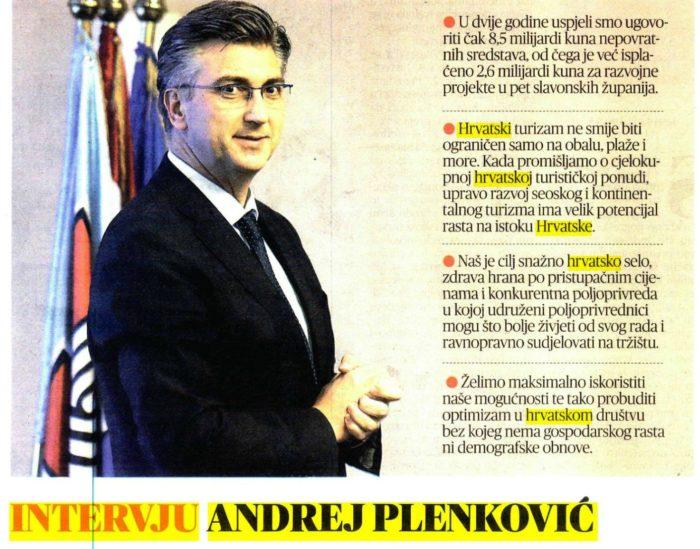 Plenković: Svaki euro kroz Projekt Slavonija ulažemo u razvoj istoka Hrvatske