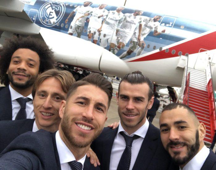 Luka Modrić sa suigračima na Emiratesovom A380