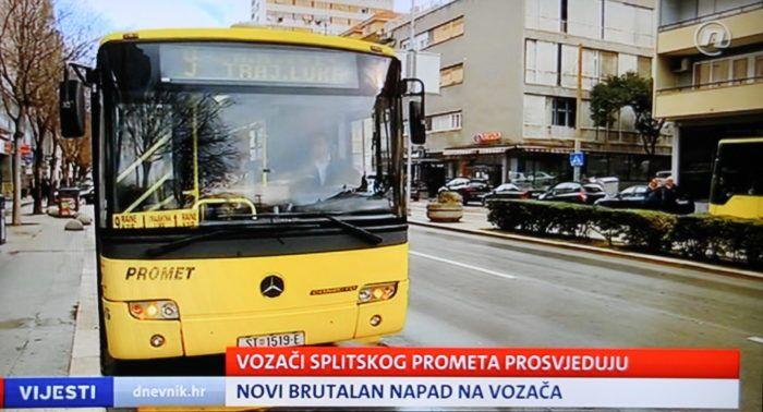 Zbog napada na vozača gradskog autobusa u Splitu, okupljanje ispred policije i desetminutno zaustavljanje prometa