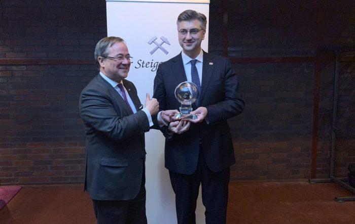 """Plenković primio u Njemačkoj nagradu """"Steiger"""": """"Ovu nagradu vidim i kao nagradu za narod Hrvatske i njihove zasluge u jačanju Europske unije"""""""