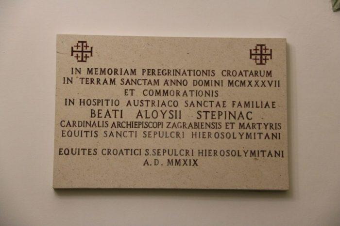 HRVATSKO NACIONALNO HODOČAŠĆE: U Jeruzalemu otkrivena spomen-ploča bl. Stepincu