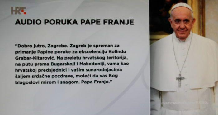 Papa Franjo prilikom preleta hrvatskog zračnog prostora na putu prema Bugarskoj uputio je poruku hrvatskoj predsjednici Grabar-Kitarović