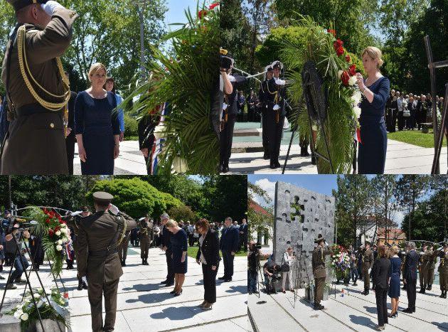Predsjednica Grabar-Kitarović u Brodu položila vijenac u spomen djeci poginuloj u Domovinskom ratu