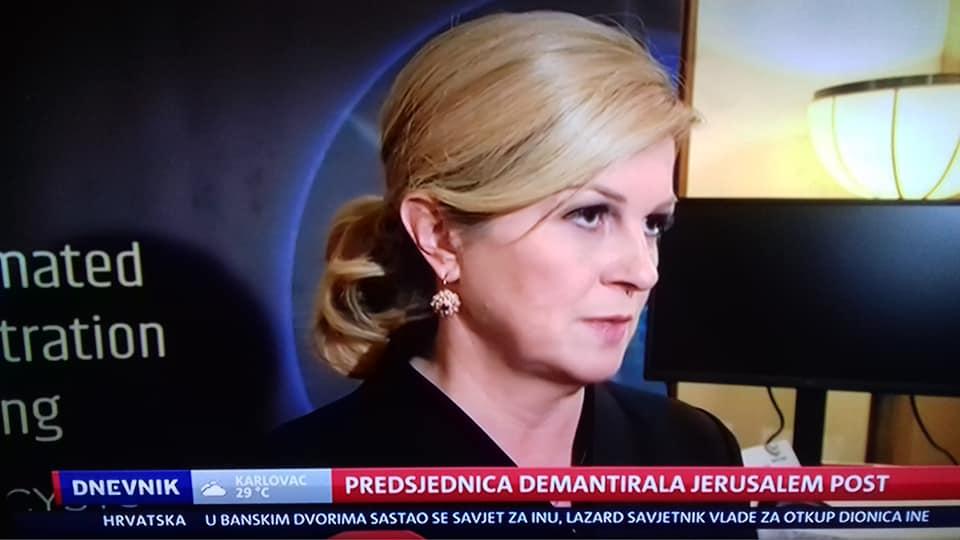 """Grabar-Kitarović odlučno odbacila navode Jerusalem Posta: """"Ponavljam, to nisam rekla. A ove žestoke reakcije u kojima se Hrvatska uspoređuje s fašizmom ili fašističkom državom u potpunosti odbacujem"""""""