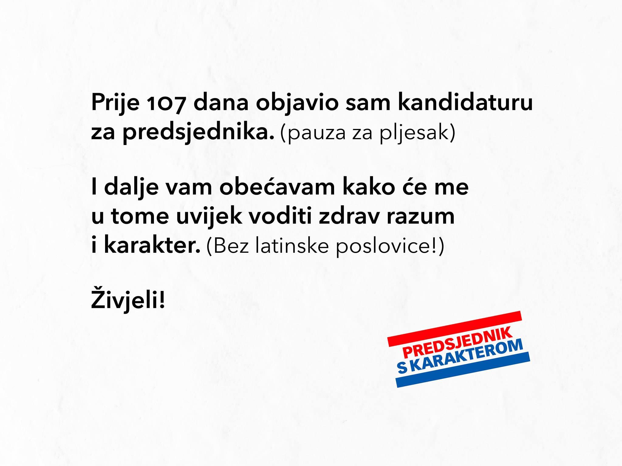 """Milanović se na Facebooku posprdno osvrnuo na propust stožera Grabar-Kitarović: """"Prije 107 dana objavio sam kandidaturu za predsjednika. (pauza za pljesak)"""""""