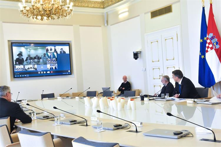 HRVATSKI PREMIJER Andrej Plenković s čelnicima sedam država o suzbijanju koronavirusa