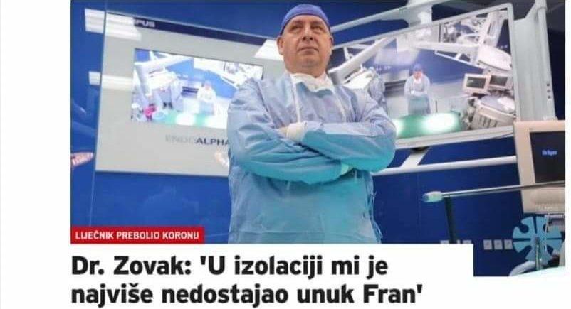 Ravnatelj zagrebačkog KBC-a Sestre Milosrdnice Dr. Zovak: 'U izolaciji mi je najviše nedostajao unuk Fran'