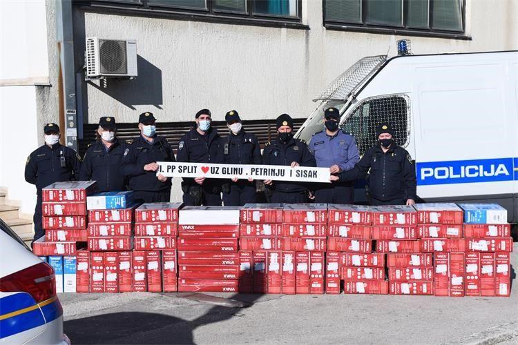 SRCEM ZA STRADALNIKE OD POTRESA: Splitska policija prikupila 20.000 kuna za pomoć Glini, Petrinji i Sisku