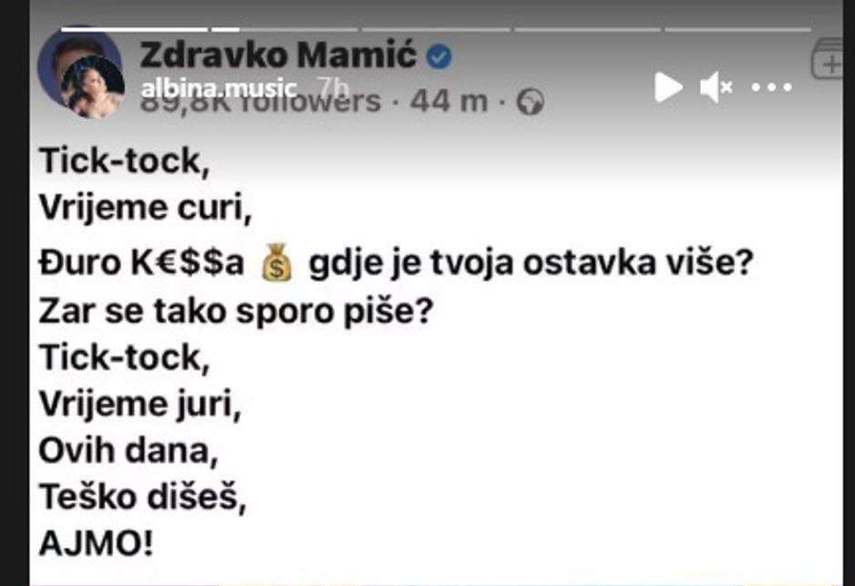 "Mlada pjevačica Albina oglasila se nakon što je Zdravko Mamić napravio svoj prepjev njene pjesme Tick-Tock: ""Znači umirem """
